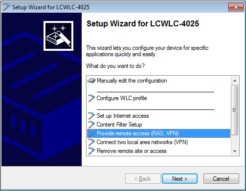 Using the Setup Wizard in LANconfig to set up a VPN profile