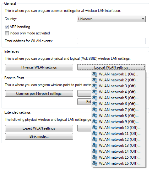 The logical WLAN interfaces