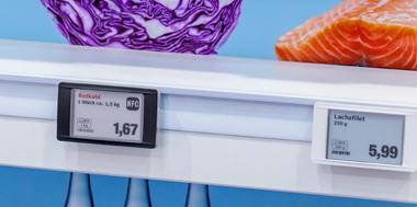 Elektronische Preisbeschilderung an Regal