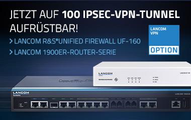 """Banner mit Router, Firewall und Icon VPN Option, Text """"Jetzt auf 100 IPSec-VPN-Tunnel aufrüstbar! LANCOM 1900er-Router-Serie, LANCOM R&S®Unified Firewall UF-160"""""""
