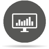 Grauer Icon eines Desktops mit einer Tabelle